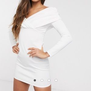 ASOS DESIGN bardot ruched long sleeve mini dress